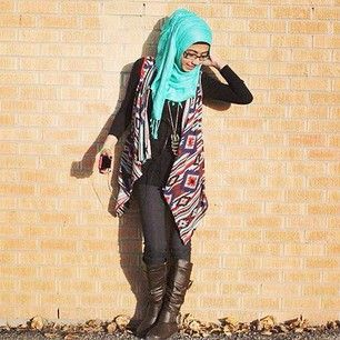 Colourful turquoise , with Colourful Pattern and Boots   http://www.evermodest.com