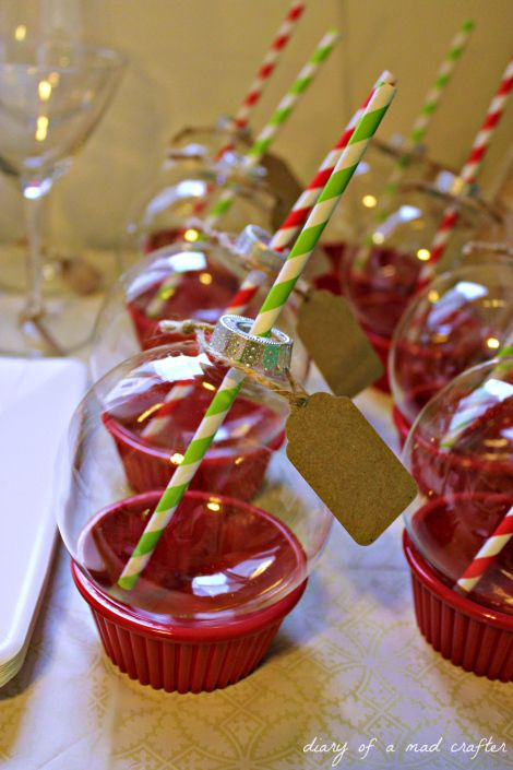 Ornament drinking glasses! Sit on plastic ramekins (from the dollar store) so guests can place them down wherever they go! Adorable!