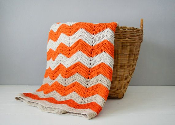 Vintage Afghan  Orange Home Decor  Chevron by TimberAndTwine, $60.00