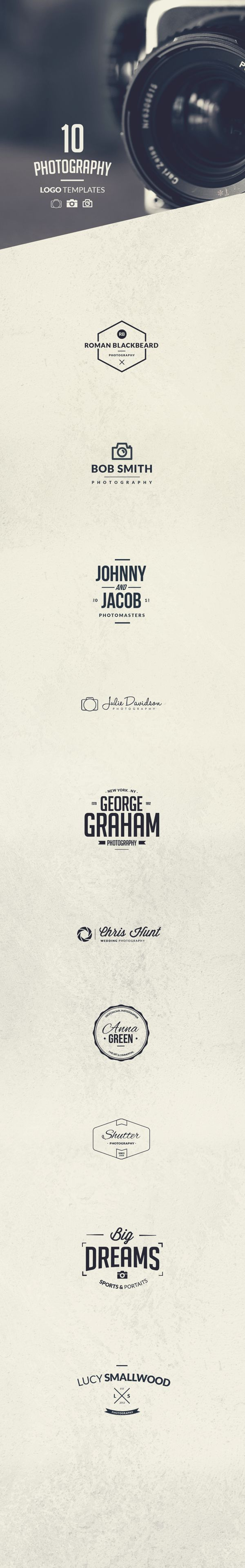 10 Photography Logo Templates by Tom Anders Watkins, via Behance