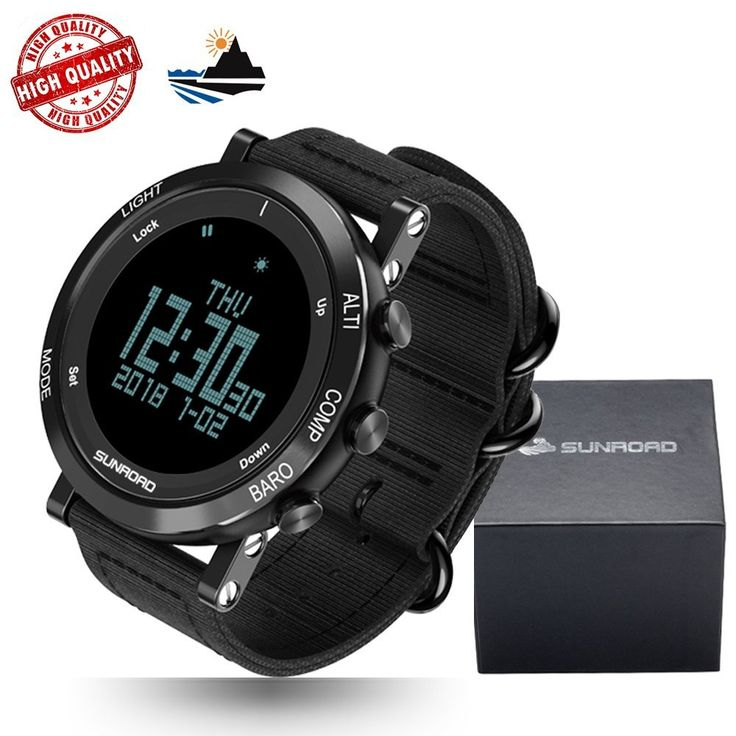 Amazon.com: [New Arrival] SUNROAD Multi-function Sports Outdoor Watch With Nylon Strap Climbing Running Hiking Altimeter Pedometer Barometer Compass Thermometer Weather Forecast etc. Swiss Sensor 5ATM Waterproof: Cell Phones & Accessories