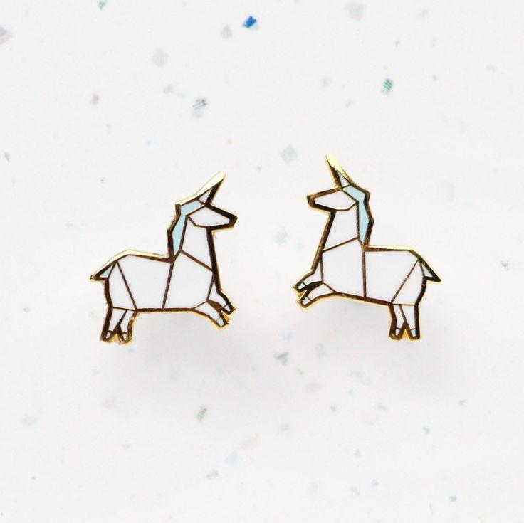 Hannah Zakari - Origami Unicorn Stud Earrings #earrings