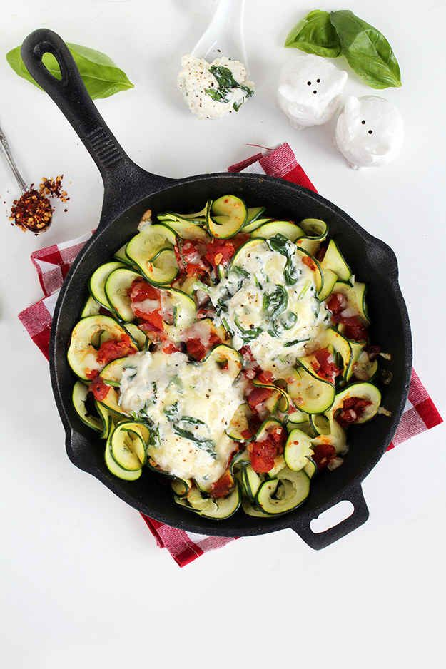 Baked Zucchini Noodles With Tomato Sauce, Mozzarella, and Parmesan