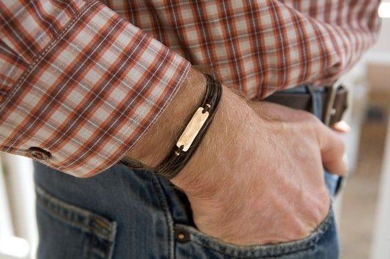 Men's Leather Bracelet Man's Bronze Bracelet by roundhousejewelry