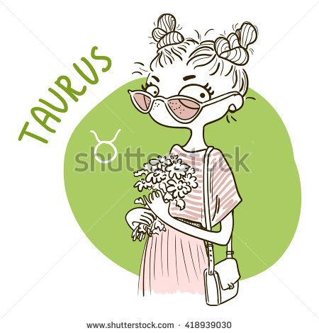 Zodiac signs Taurus. Vector illustration of the girl.