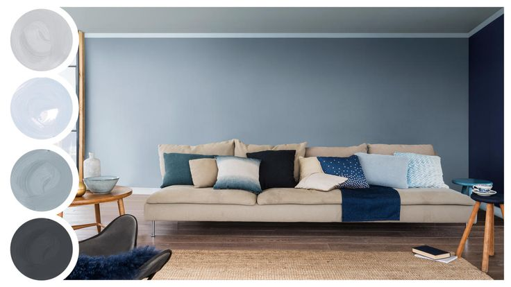"Dream Scheme Denim Drift - ""By combining Denim Drift with other blues such as Borrowed Blue, Cobalt Night and Wise Diamond you can create a relaxed, peaceful living room. Don't just stop at painting your walls in different blues though, make use of the ceiling and add an accent across the top of the wall. This colour scheme technique using a variations of the same is also known as tonal layering."" - Dulux"