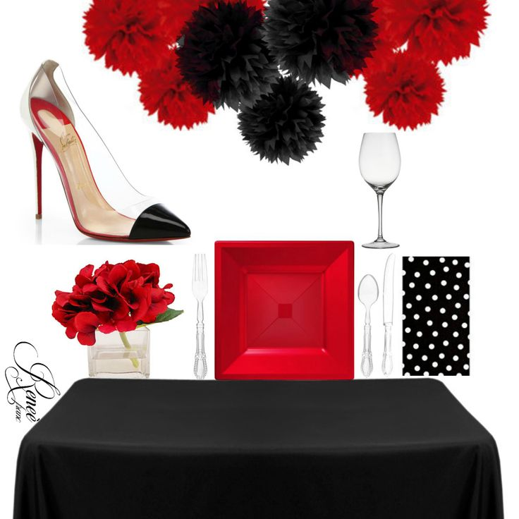 Louboutin Inspired Party In A Box Complete with serve ware and decor elements *SHOES NOT INCLUDED Connect with Renee' Franc To order our exclusive Party in A Box Tablescape at sales@reneefranc.com or order by phone at 888.215.4558