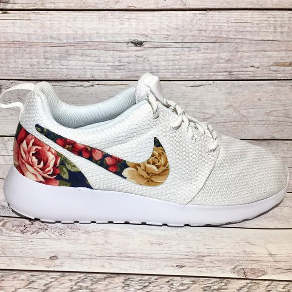 Custom Fabric Nike Roshe Shoes Navy Floral Sneakers Bling Nike Shoes... ($145) ❤ liked on Polyvore featuring shoes, sneakers, silver, sneakers & athletic shoes, tie sneakers, women's shoes, silver trainers, navy trainers, silver shoes and floral pattern shoes