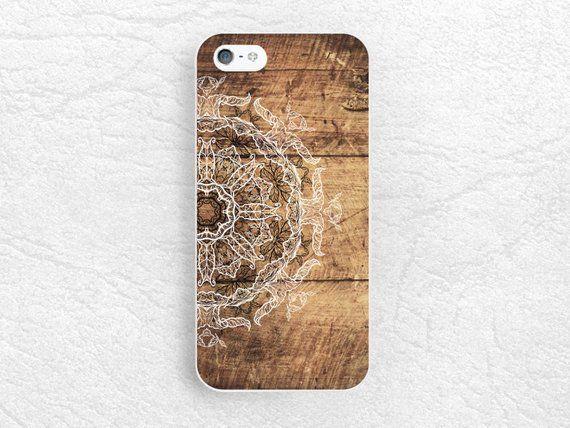 Mandala floral henna Wood print Phone Case for iPhone 8   Etsy ...