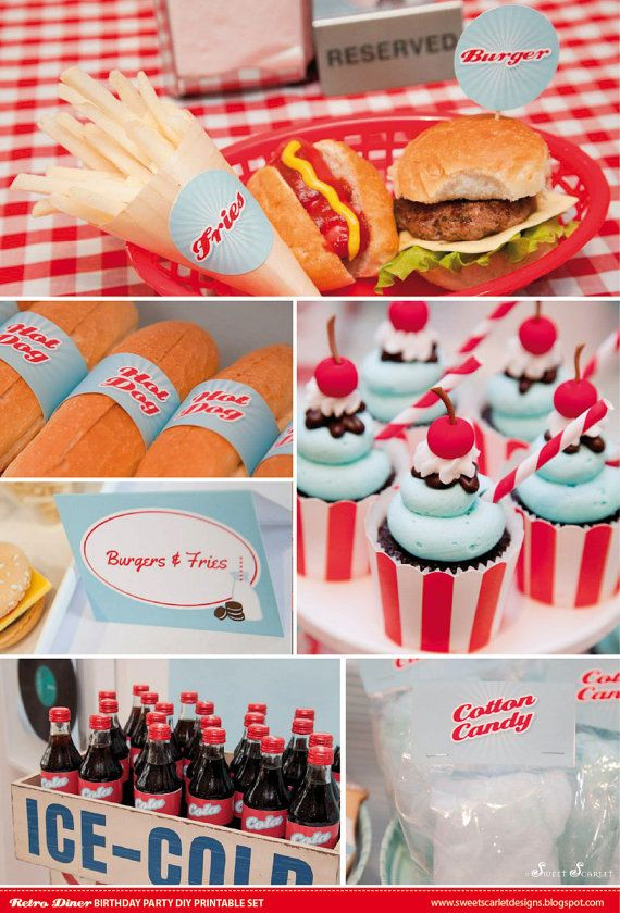 RETRO Diner Birthday Party Printable Set  by SweetScarletDesigns, $40.00