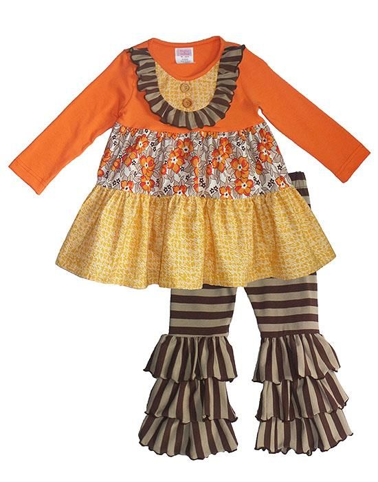 GORGEOUS Peaches n Cream AUTUMN HARVEST Tiered Ruffle Pant Set TODDLER Girls (sz 2T-6x) ~Color Me Happy Boutique #Fall #Thanksgiving