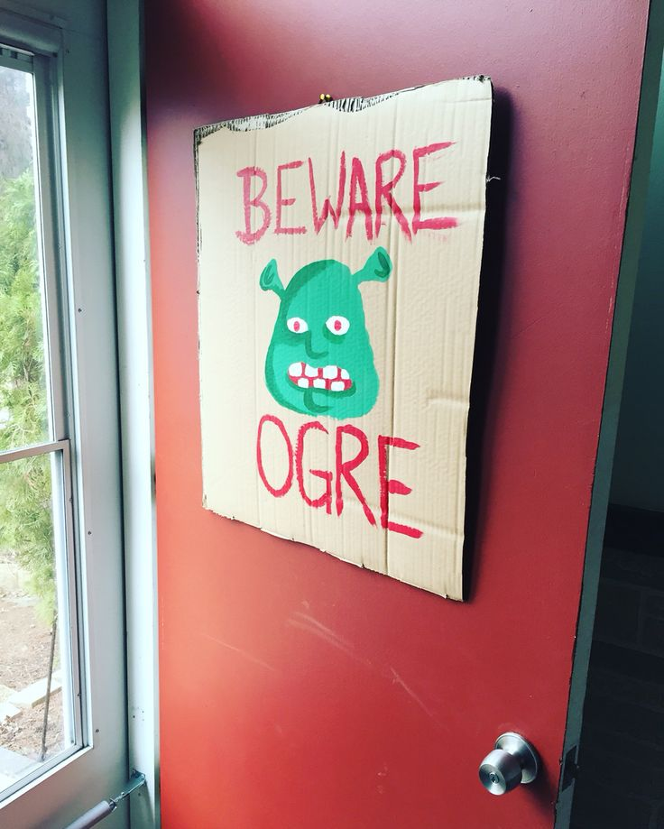 Door sign for a Shrek birthday party