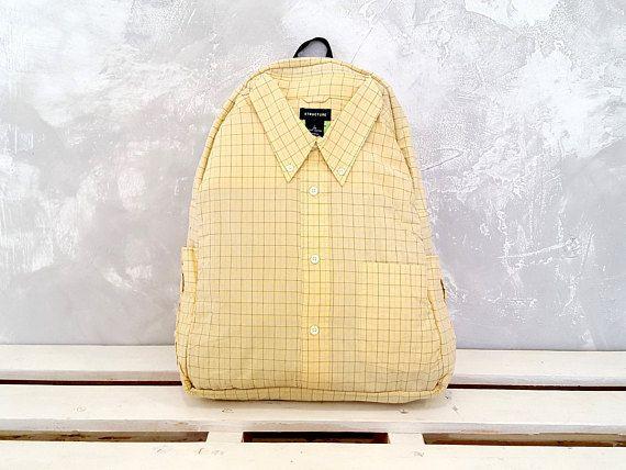 Eco backpack Plaid yellow shirt backpack School backpack