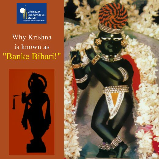 One of Krishna's names is 'Banke Bihari.' 'Banke' refers to His graceful standing form, holding His flute, His right foot across the left, right toe on the ground. In this pose, His form is bent in three places - at the neck, waist and right knee. 'Bihari' means the Supreme Enjoyer! Tag PhotoAdd LocationEdit