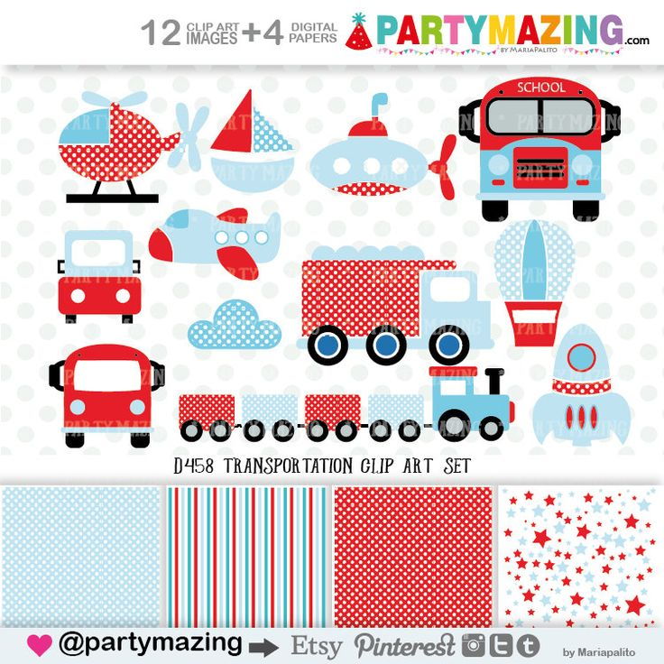New from Partymazing on Etsy: Transportation Clipart for Boys (Personal & Small Business Use) Polka Dot  Blue and Red Digital Clip Art Graphics INSTANT Download D458 (3.00 USD) For more @partymazing