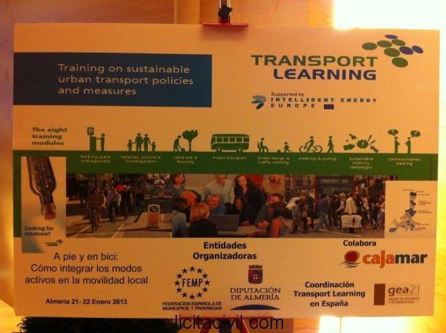 Cartel de las jornadas celebradas por la Diputación de Almería, Transport Learning y Gea 21 en el salón de actos de Cajamar (Almería).