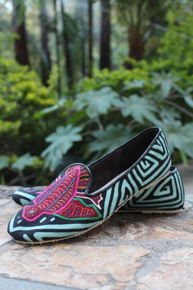 Smoking slippers made out of amazing mola tapestries. www.teysha.is