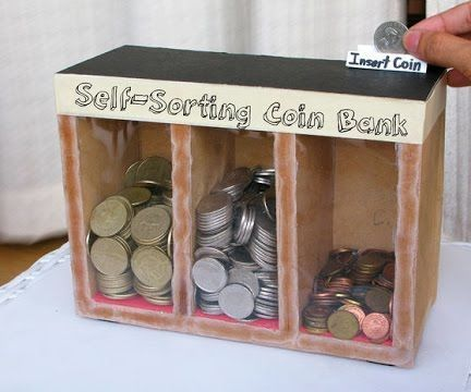 If you want to make coin sorter you can do it very easily and it's really interesting project. You will need:1. Small box (paper)2. Tape (got glue)3. Precision knifeAnd just follow instructions from video. Enjoy :D