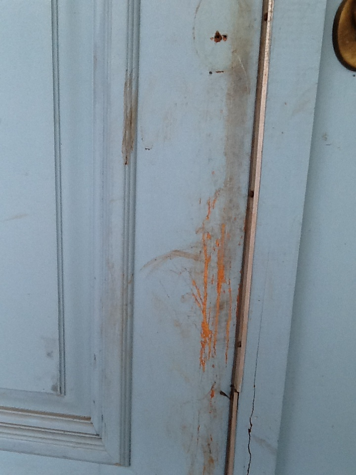 Good This Is The Front Door Of My House The Scratch Marks On The Door Are From