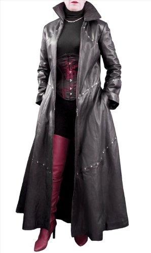 """Ashwood Long Black Leather Studded Gothic-style Coat - Ladies/Womens (UK 16, Bust 40"""") Ashwood Leather, http://www.amazon.co.uk/dp/B006UB3AH8/ref=cm_sw_r_pi_dp_bMG1qb1SD3G50"""