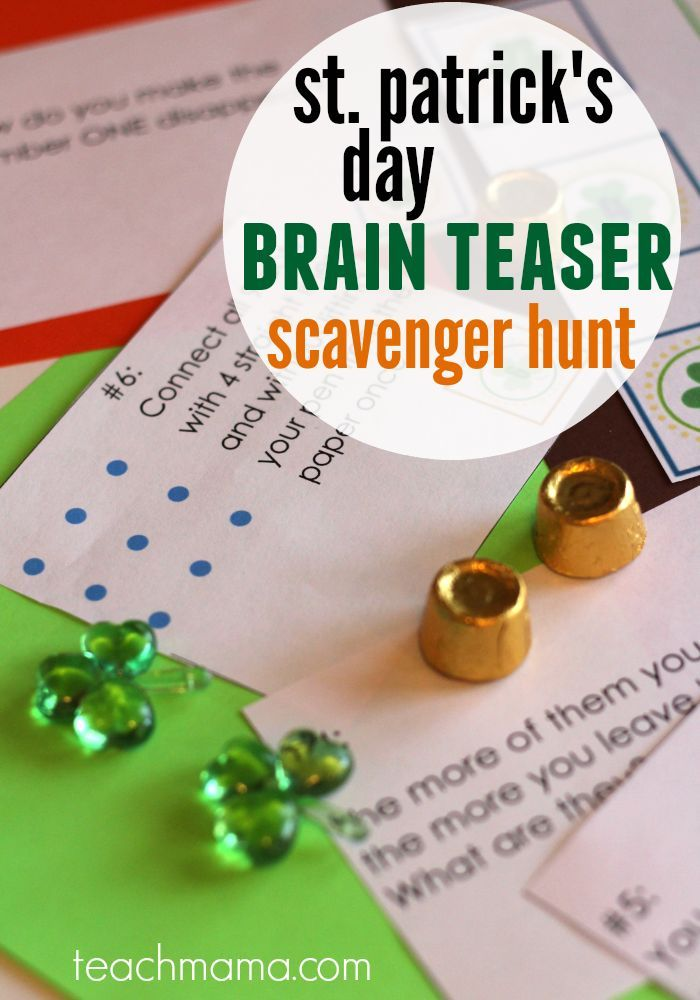 st. patrick's day BRAIN TEASER scavenger hunt | fun way to celebrate st. patty's day with older kids! - repinned by @PediaStaff – Please Visit ht.ly/63sNtfor all our pediatric therapy pins