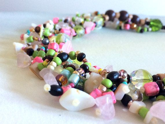Green and Pink Boho Beaded Necklace. by AriadnesCreations on Etsy