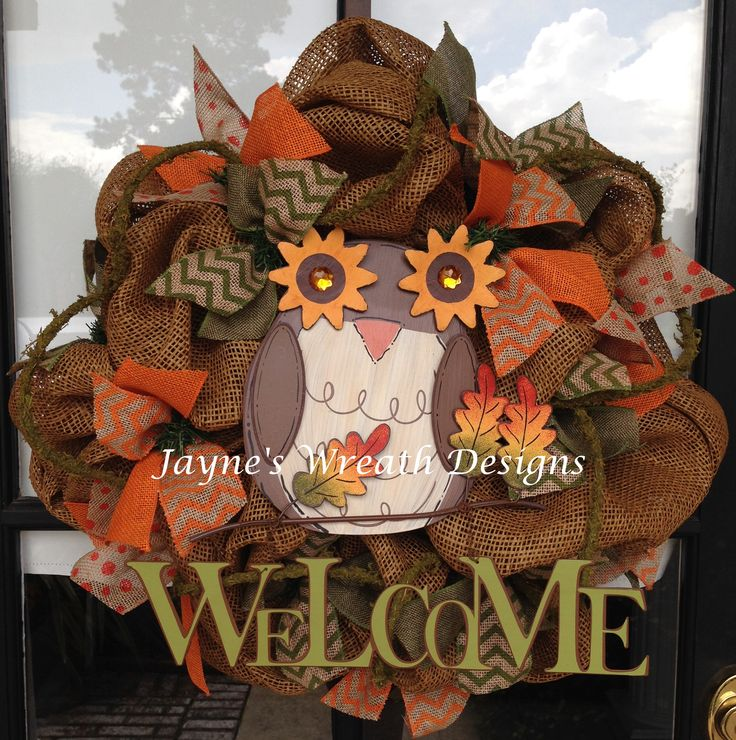 Deco Mesh Fall Owl Wreath. Welcome sign surrounded by bows and leaves