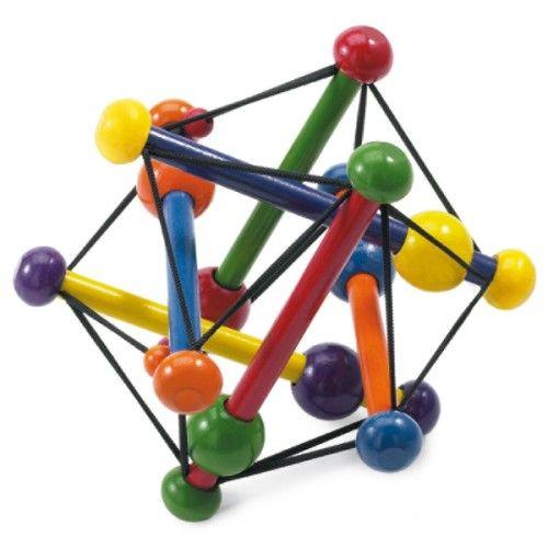 Ce hochet en bois a une forme originale. L'enfant l'attrape facilement par les ficelles, ou par les extrémités en bois. Souple et flexible, ce hochet offre à l'enfant la possibilité d'éveiller ses sens tout en douceur.