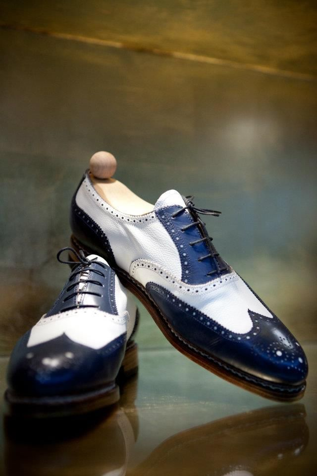 Men/'s Handmade Genuine Blue /& White Leather Two Tone Oxford Toe Cap Formal Shoes