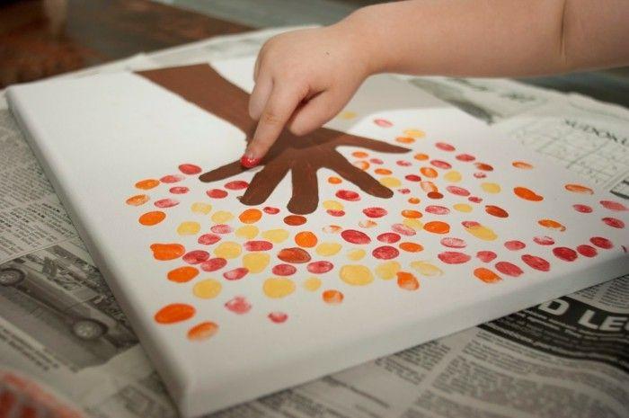 kreative bastelideen mit fingerabdrücken ein baum machen