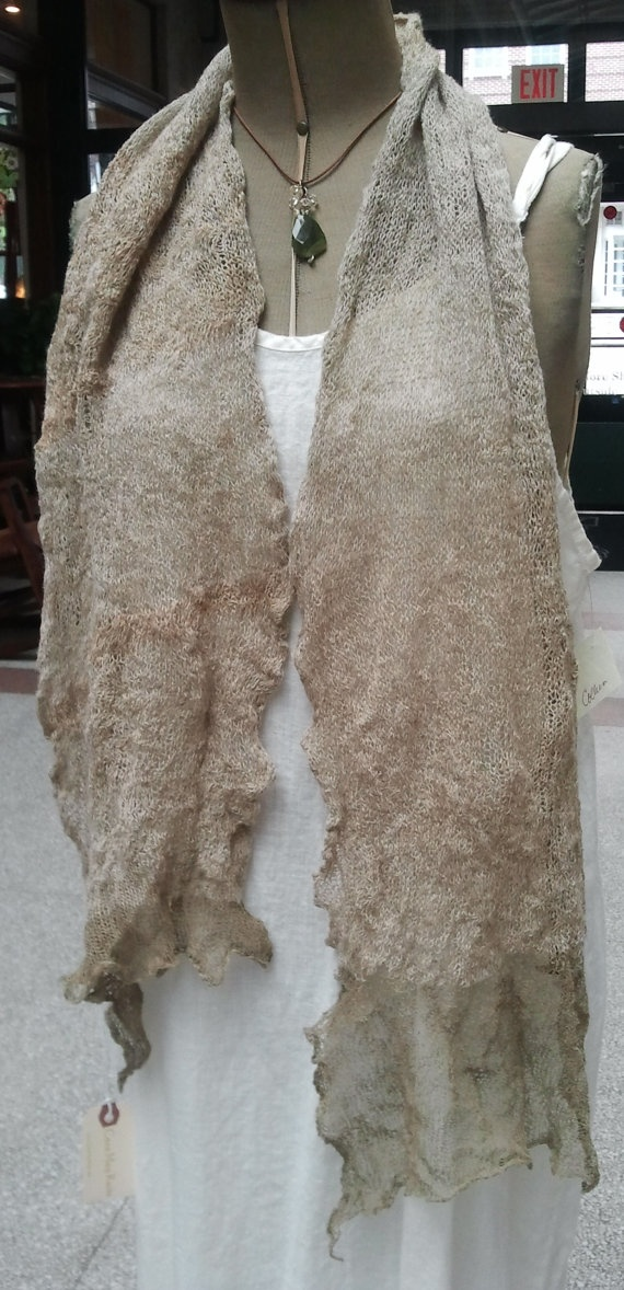 Sand Scarf  Hand Knitted Art to Wear by caramay on Etsy, $89.00