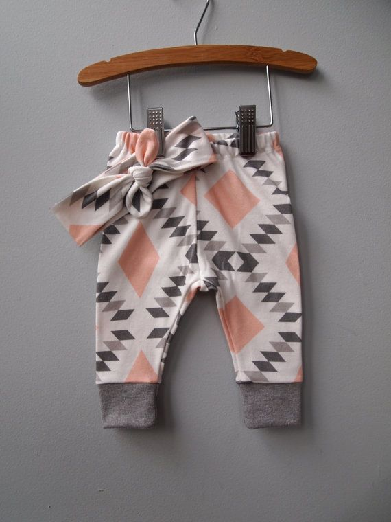 Organic Cotton Baby Girls Leggings and Top Knot Headband or Hat Set in Pink/Gray Diamond Fabric, Size Newborn to 4T, Made to Order