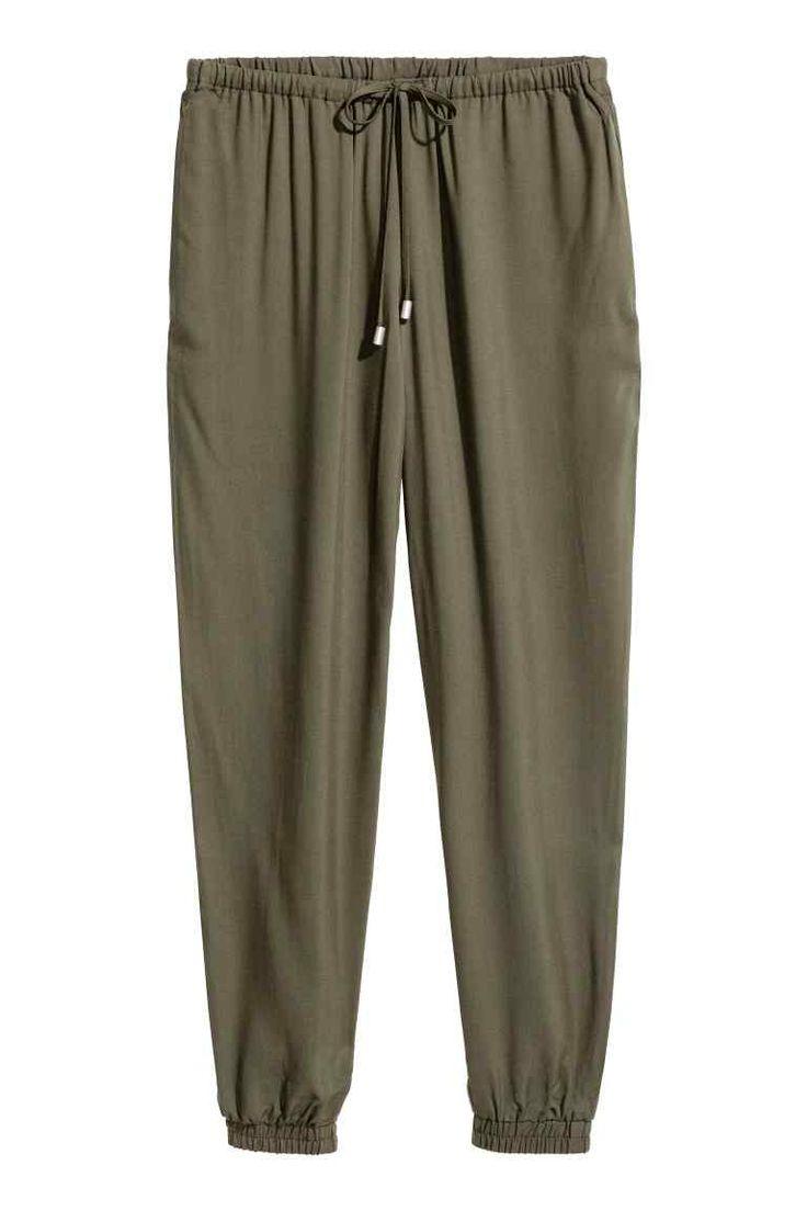 Pantalon à taille élastique - Vert kaki - FEMME | H&M CA