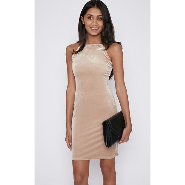 Elektra Beige Velvet Mini Dress (715 RUB) ❤ liked on Polyvore featuring dresses, camel, going out dresses, straight dress, night out dresses, beige short dress and short dresses