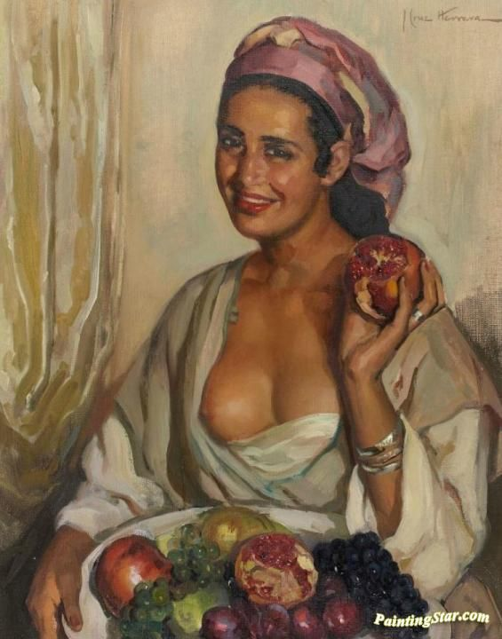 Moroccan Woman With A Fruit Bowl Artwork by José Cruz Herrera Hand-painted and Art Prints on canvas for sale,you can custom the size and frame
