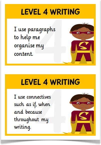Writing Targets Levels 4 & 5 - Treetop Displays - A set of 44 writing target statements on A5 flashcards for children working at level 4 (in orange) and level 5 (in purple). Each flashcard presents a child superhero character and links to the APP writing assessment guidelines. Visit our website for more information and for other printable resources by clicking on the provided links. Designed by teachers for Early Years (EYFS), Key Stage 1 (KS1) and Key Stage 2 (KS2).