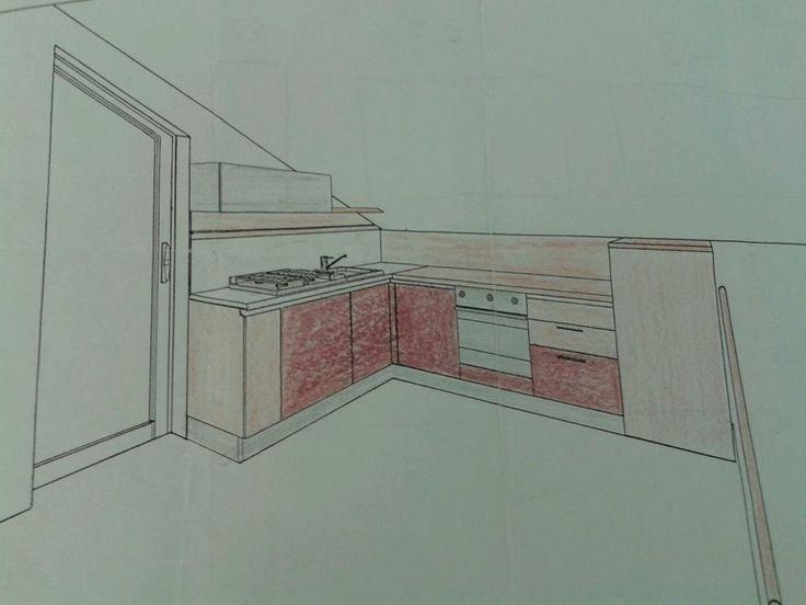 Progetto Cucina in un ambiente con tetto mansardato. Particolare di lavoro certosino nel montaggio del pannello boiserie a filo muro.