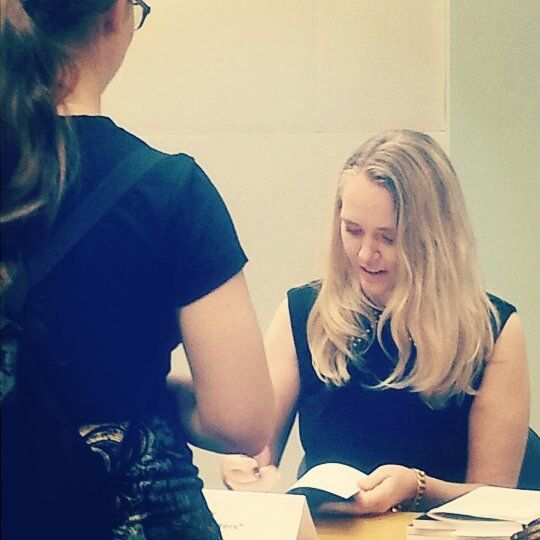 The ever lovely @vintage_chick333 signing her story for a young fan at today's Community Novel Launch
