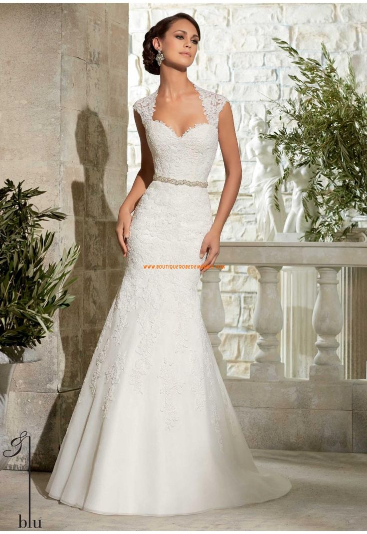 Robe de mariée Empire Organza Fourreau Traine Chapelle Luxueux Col En Coeur