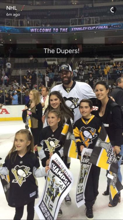 The Dupuis family, Stanley Cup 2016.