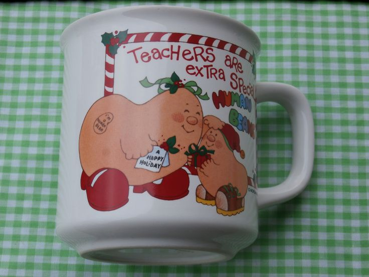 Excited to share the latest addition to my #etsy shop: Christmas Human Bean Mug Teachers are Extra Special Vintage 1980s Era Human Beans Made in Japan http://etsy.me/2En6VNJ #housewares #white #birthday #christmas #red #birdwatcher #nature #wildlife #teamwwes
