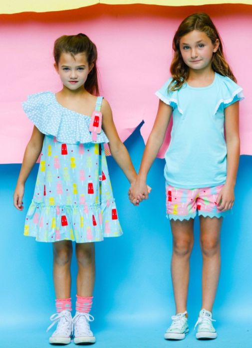 Popsicle Frosty Blue Princess Ice Cream Dress  Blue Flutter Tee with Daisy Strawberry Princess Ice Cream Shorts