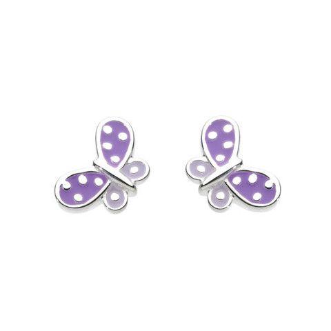 Kit Heath Kids Sterling Silver and Lilac Enamel Beautiful Butterfly Stud Earrings    CuteKidStuff.com
