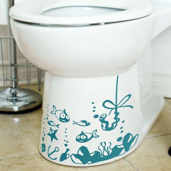 Set De Baño Reciclado:para cuarto de baño calcomanías de piso etiquetas engomadas del