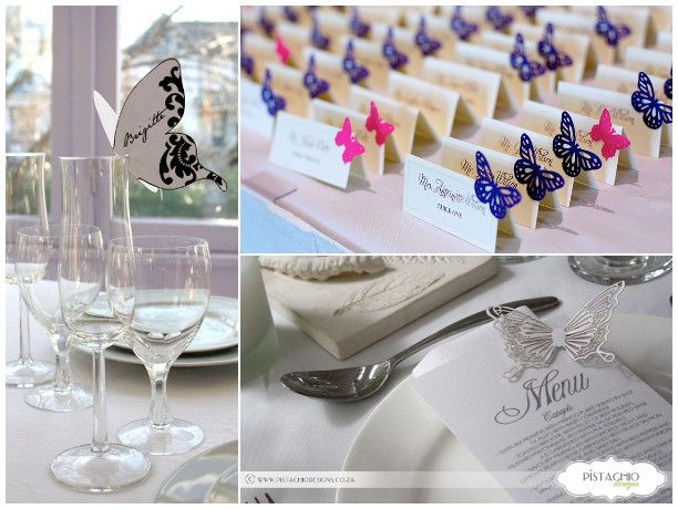 sengaposto menu escort card tema farfalle matrimonio / butterfly escort cards, place holders & menu