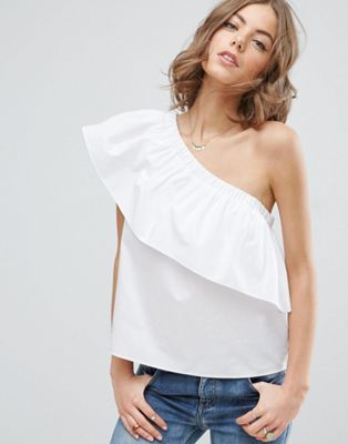 ASOS One Shoulder Top in Cotton
