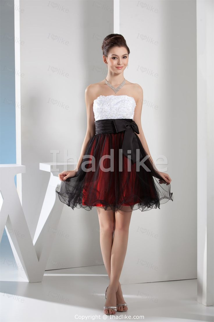 Short red white and black dresses