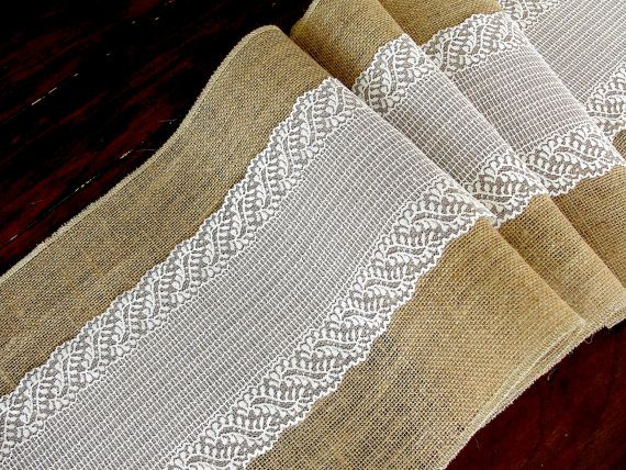 Wedding table runner with cream lace rustic chic wedding tablecloth, burlap and lace table runner, handmade in the USA, via Etsy