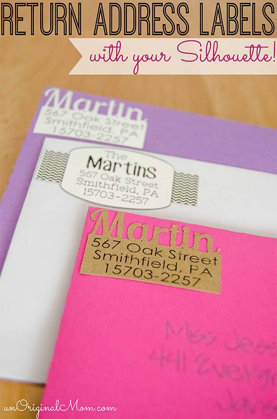 Add a little fun and personality to your return address labels with your Silhouette!  via unOriginal Mom