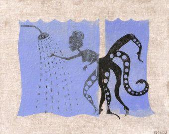 octopus bathroom linocut varnished and mounted by DansLaPeaudAnne